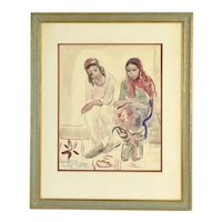 Bacia Gordon Watercolor Painting Yemenite Children in Migdal Ashkalon sgd