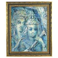 Midcentury Painting Asian Bhuddist Couple in Headdress Lucile Leighton Chicago