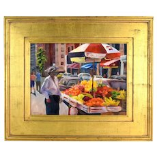 Oil Painting New York City Colorful Fruit Vendor on 12th Street sgnd Bonnie Mincu