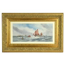 Antique 19th Century Watercolor Painting Sailboats Shoreham Sussex Sgd W. Stewart