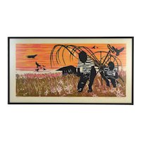 """Walter Henry Williams L/E Woodcut """"Harvest"""" African American Artist"""