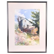 Vintage Painting Abandoned Mining Industrial Building Colorado signed Hamity