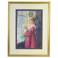 """Tina Mazzoni Solarz """"Katie Waiting"""" Pastel Painting Blonde Sisters by the Window"""