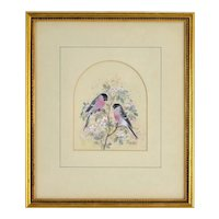 Diane Elson Finely Rendered Miniature Painting of Birds Among Blossoms