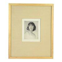 1920's Etching Portrait Bare Shouldered Woman w Bobbed Hair Arthur Garratt