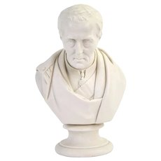 1852 Duke of Wellington Victor of Waterloo Parian Porcelain Portrait Bust by Pitts