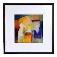 Vintage Modern Abstract Shapes Oil Painting Signed