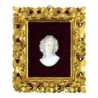 Finely Carved Antique Marble Miniature Portrait Pretty Woman w Flowers in Hair