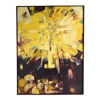 Vintage Mid Century Modern Abstract Refracting Light Burst Painting as-is