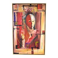 Modern Abstract Oil Painting Two-Tone Face signed Jorge Rodriguez
