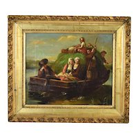 Antique Early 19th C. Dutch Oil Painting Shy Young Women on Hay Barge w Villagers