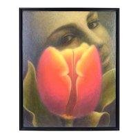 "Jim Zasoski ""Woman with Tulip"" Ethereal Oil Painting Minnesota Artist"