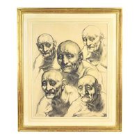 1968 Fred Berger Drawing 5 Portraits of an Old Man Chicago Monster Roster Artist