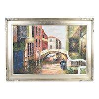 Vintage Oil Painting Bridge over Venetian Canal w Gondolas signed James