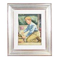 Vintage 1940's Oil Painting Illustration Style Shoe Shine Boy Working on Street
