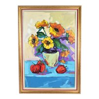 Yvonne Mora Bold Colorful Floral Still Life Painting Peruvian Artist