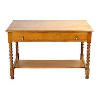 Antique Circa 1900 Oak Library Work Table Desk w Barley Twist Legs