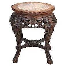 Antique 1920's Carved Chinese Rosewood Marble End Table Pedestal Stand