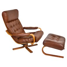 Vintage Mid-Century Modern Bentwood Leather Lounge Chair Recliner with Ottoman