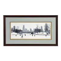 Vintage 1980's Screenprint Ice Skaters at Lincoln Park sgd #'d L/E Wennersten
