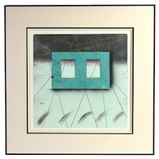 Vintage Modernist 80s Abstract Geometric Lithograph Signed Sauchuk