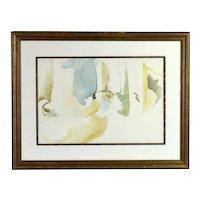 Vintage Modern Abstract Minimalist Tonal Pencil and Watercolor Painting Soft Hues