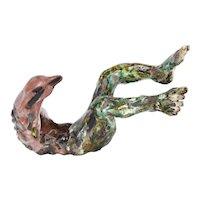 Vintage Bizarre Surrealist Creature Pottery Sculpture Glazed in Greens