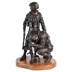 Face of War II Special Forces Soldiers Bronze Sculpture Douwe Blumberg 1/1
