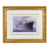 """""""Liberty Ship"""" by John Kelly signed Artists Proof Color Lithograph"""