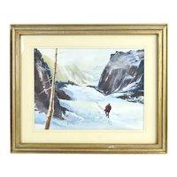 "Vintage Birdell Eliasan ""The Mountain Trail"" Watercolor Painting"