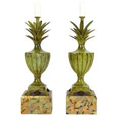 Pair of Tyndale Frederick Cooper Bronze Verdigris Pineapple Urn Boudoir Lamps