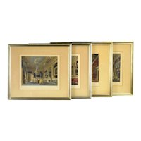 4 Hand Colored Architectural Interior Etchings W.H. Pyne`s British Royal Residences