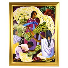 """Oil Painting after Mexican Artist Diego Rivera """"The Flower Vendor"""" sgd Uriarte"""