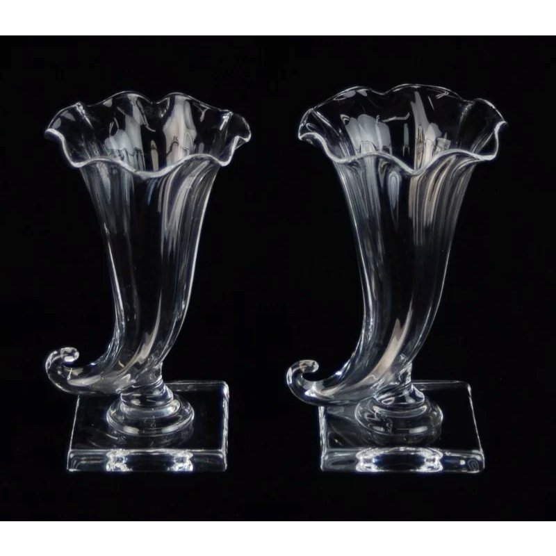 Pair Vintage Steuben Crystal Cornucopia Vases Hand Blown Glass Sold