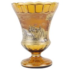 Moser Anton Kusak Hand Painted Crystal Vase Horse Drawn Coach