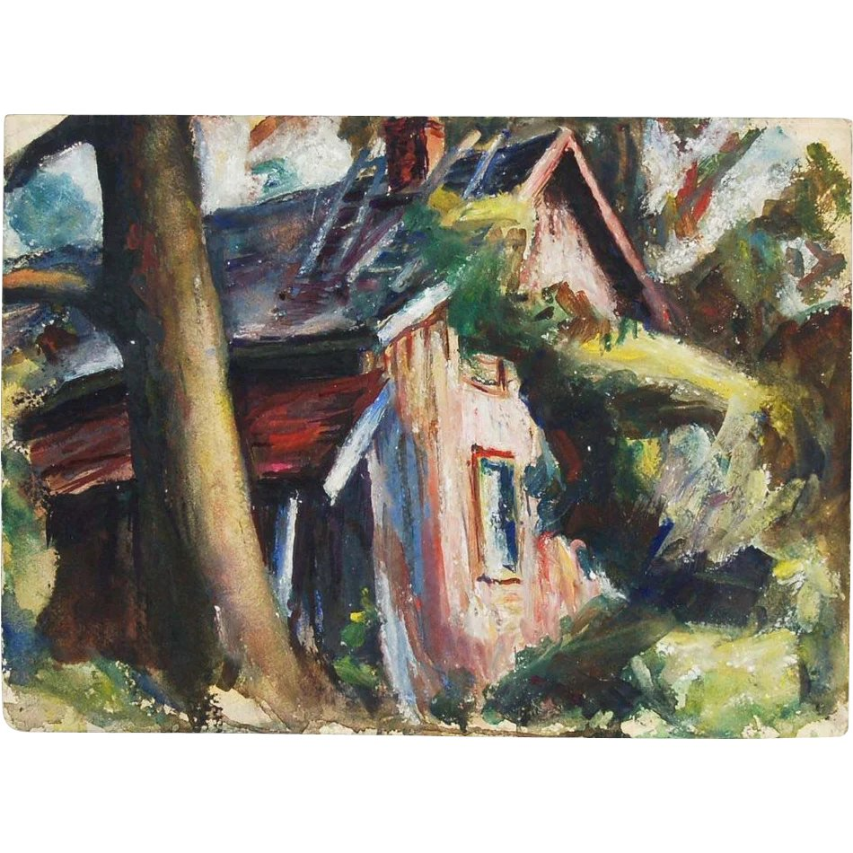 1940s Gouache Cabin In Woods Landscape Painting JC McPherson NYC Colin Reed Art Antiques