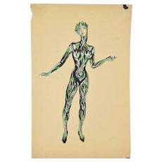Andre Delfau Ballet Dancer Fantasy Plant Foliage Costume Original Painting