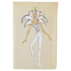 Andre Delfau Ballet Dancer Fantasy White  Flower Woman Costume Original Painting