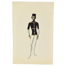 Andre Delfau Ballet Dancer Costume Court Page? Original Painting