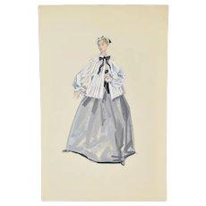 Andre Delfau Ballet Dancer Nurse or Nanny Costume Original Painting