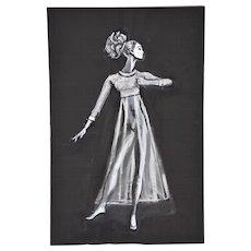 Andre Delfau Ballet Dancer Double Sided Diaphonous Dress Costume Original Painting