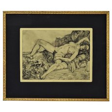 "Richard Willenbrink Etching ""Medusa"" Reclining Nude in Sensual Mood"