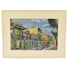 1950's Gouache Painting French Quarter New Orleans Signed