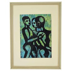 Mid-Century Modern Abstract Woodcut Print Three Nude Men signed Beauchamp