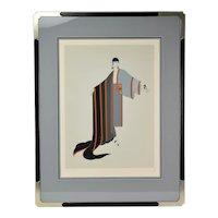 "Erté Erte ""Michelle"" French Art Deco Flapper Limited Edition Screenprint Signed"
