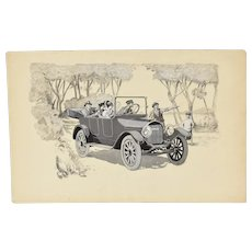 1920's Automobile Advertising Painting Touring Car w Chauffer Michigan Artist
