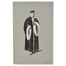 Andre Delfau Bearded Man in Ermine Trim Robe Ballet Original Costume Painting