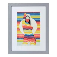 1970's Rainbow Color Marker Drawing of Nude Girl with White Sphere