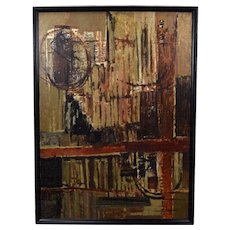 Vintage Mid-Century Modern Abstract Oil Painting signed McIntosh