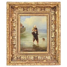 19th Century Dutch Oil Painting Boy Wading to Shore with Little Girl on Shoulders